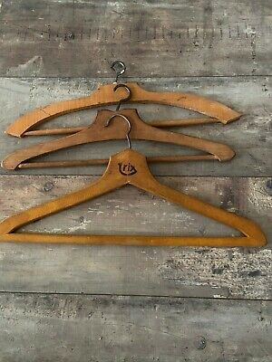Set of 3 Old French Wooden Clothes Hangers / Coat Hangers