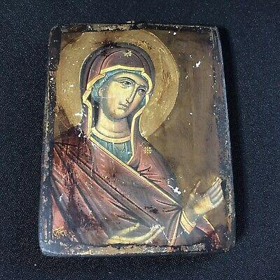 Rare Vintage Russian Orthodox Mother Deesis (in Supplication) Wooden Icon