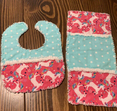 HANDMADE RAG QUILT 2 PC GIRL SET -bib & burp pad- Cute Unicorns