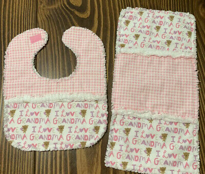 HANDMADE RAG QUILT 2 PC GIRL SET -bib & burp pad- I Love Grandma