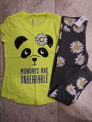 NWT Justice Girls Outfit Panda Top/Leggings Size 6 7 8 10 12 14 16