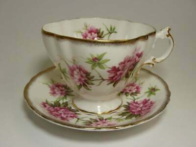 Paragon Pink Teacup & Saucer Set English Square Scalloped Lobed Cup Pink Flowers