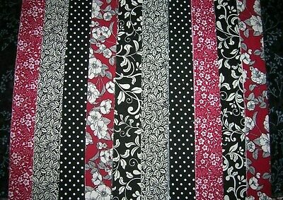"""**Clearance**10 Jelly Roll Strips Burgundy & Black  44"""" X 2.5""""  100% Cotton  Cld"""