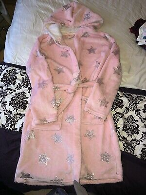 Primark Girls Hooded Dressing Gown Pink Age 11-12