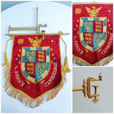 Antique Woolwork Banner Mantle Hanging Clamp St Johns College Cambridge Crest