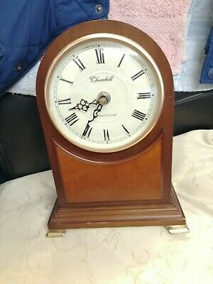 (1442) Brown Wooden Mantel Peice Clock Quartz Battery Operated Made By The Churc