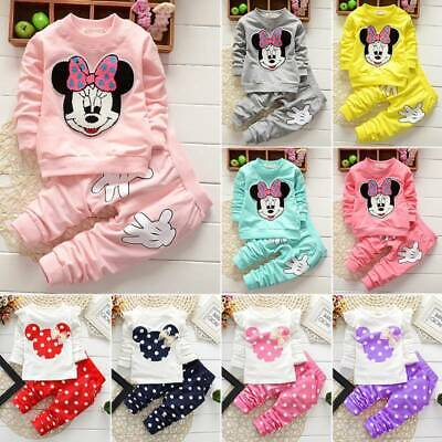 Toddler Kid Baby Girl Minnie Mouse Tracksuit Outfits Clothes T-shirt Tops Pants