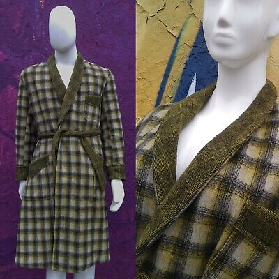 Mens Vintage Wool Dressing Gown 1950s Black Green Yellow Prince of Wales Check M