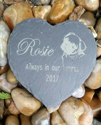 Personalised Engraved Slate Stone Heart Pet Memorial Grave Marker Plaque Dog pug