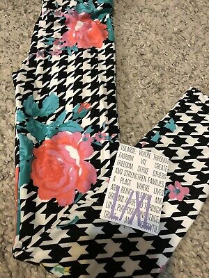 Lularoe Kids L/XL Leggings New Rose Floral FAST Ship Black White Houndstooth NWT