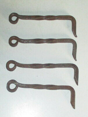4 Vintage Rustic Forged Twisted Iron Door Latch Hooks For Barn/Shed/Gate