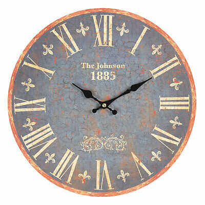 Wall Clock the Johnson 34cm Shabby Chic Country House Vintage