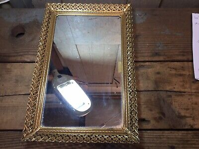 Vintage Ornate Deco Rectangular Brass Tone Mirror Antique Gold Finish 15' x 10'