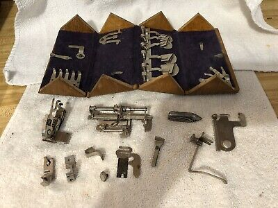 Vintage Singer Sewing Machine Parts  Attachments In Wooden Box