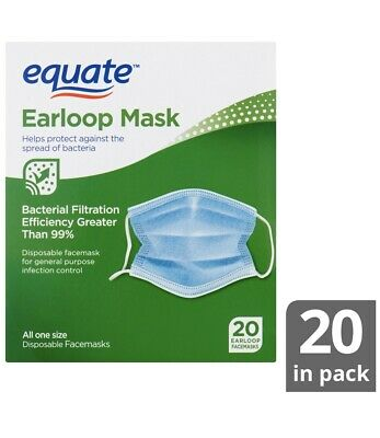 20 Medical Full Face Earloop Mask Disposable  3 Ply Equate Infection Control