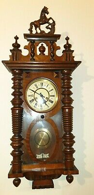 Antique Old Vintage Vienna Style Wooden Wall Clock