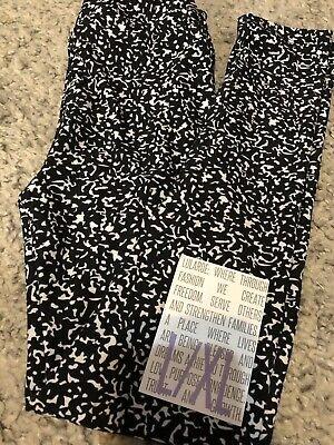 lularoe kids leggings l/xl Black White Speckled NWT Size 8 - 12