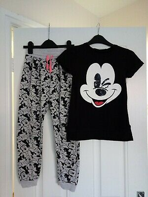 Girls Micky Mouse outfit Primark top And H&M Jogging bottoms 8-9 Years