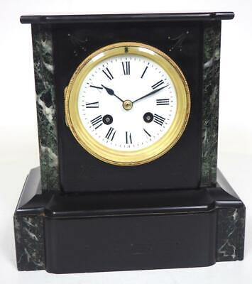 Classic French 8 Day Mantel Clock Black Slate Marble Cased Striking Mantle Clock