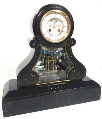Incredible French 8 Day Mantel Clock Slate & Marble Cased Regulator Mantle Clock