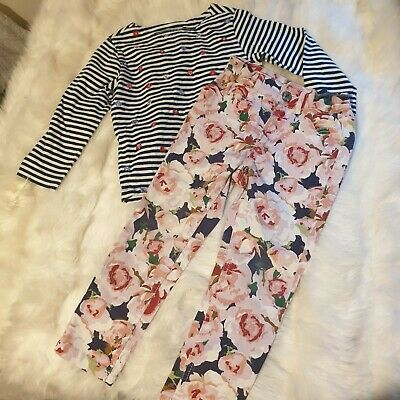 Girls 2-3 years Bundle floral striped Top & trousers jeans cute outfit Next Day