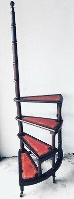 Antique English Mahogany Library Spiral Step Ladder with Four Red Leather Stairs