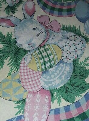 """Vintage Easter Tablecloth & Napkins Cotton 68"""" Round Bunny Rabbit Easter Eggs"""