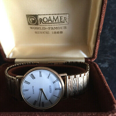 Roamer quarts 9ct gold watch and strap