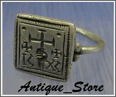** HAND holding CROSS  ** Ancient  Silver Byzantine Inscription Ring ** ICXC **