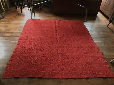 BEST BIG Early Antique ALL TURKEY Red Black Hand Sewn Calico Quilt Textile AAFA