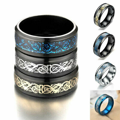 Fashion Celtic Dragon Stainless Steel Titanium Men's Wedding Band Rings Jewelry