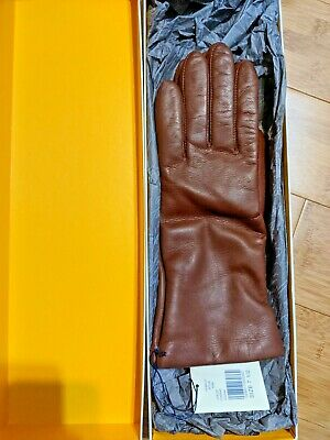 Lord & Taylor Chocolate Leather- Cashmere lined Ladies Gloves-Size 7.5- WOW*