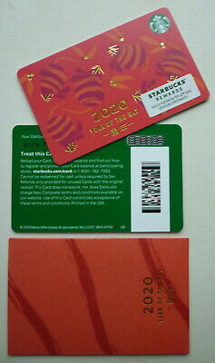 STARBUCKS CARD YEAR OF THE RAT 2020 CHINESE NEW YEAR BARCODE w/ SLEEVE