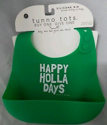 Bella Tunno Tunno Tots Silicone Bib Happy Holla Days Green Christmas