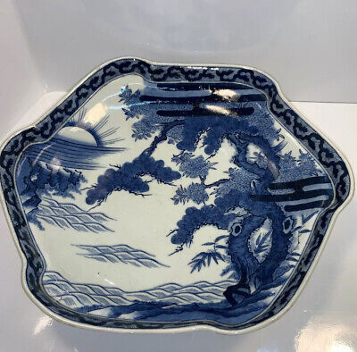 Antique Chinese Export blue and white porcelain Large Shallow Bowl /plate