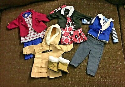 "18"" Doll Clothes Lot of 4 Outfits dress jacket pants shirt boots 11pc"