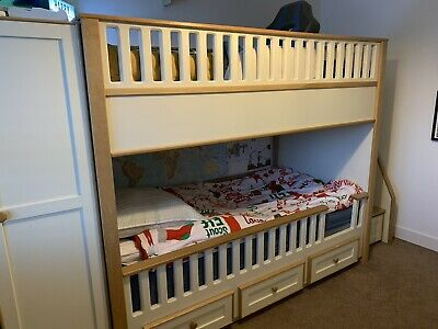 Custom Built Cream And Oak Bunk Beds With Wardrobes, Drawers & Storage Steps