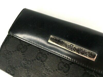 Gucci Vintage Gg Canvas Leather Long Wallet Bifold Purse Logo Plate Black Italy
