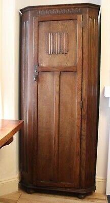 Antique Edwardian Arts and Crafts Single Door Wooden Wardrobe Armoire early 1900
