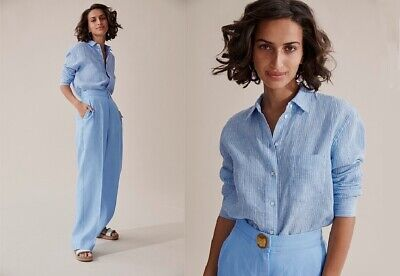 18 QUALITY LINEN NONI B LILAC BUTTONED SHIRT ADJUSTABLE SLEEVES TAG $80 NWT $33