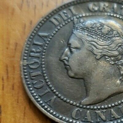 Canada 1896 One Cent F+ Die Crack OBV *** Check It Out!!  KM# 7  #AA130-6