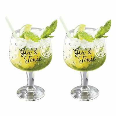 Set of 2 Large Decorated Copa Gin & Tonic G&T Bowl Balloon Glasses 650ml