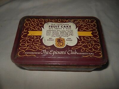 Vintage THE EPICURE CLUB Elizabeth, NJ Fruit Cake -1 Lb- METAL TIN