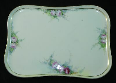 """RARE Antique U C Hand Painted Limoges France Floral Tray 11.5"""" Long"""