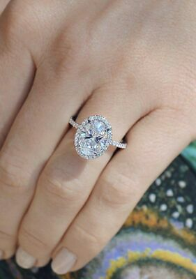 3.00 CT White Oval Cut Diamond Halo Classic Engagement Ring Solid 14k White Gold