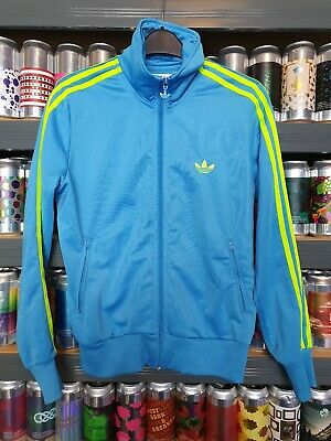 Adidas Ladies Size 10/12 Or 42 Tracksuit Top Blue Lime Green Retro Unique Rare