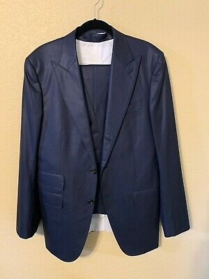 SUIT SUPPLY Navy 3-Piece Suit Supply Lined  Pure Wool Super 120s Guabello FLAWED