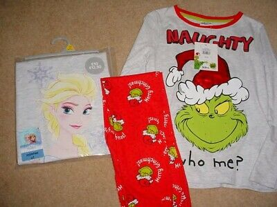 NEW with tags. 2 Pair Pyjamas, The Grinch & Frozen sz 7-8