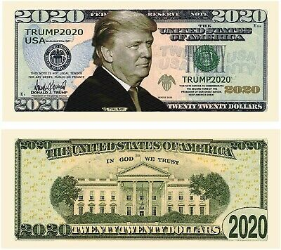 TWO! (2) Donald Trump 2020 Dollar Bill Presidential Novelty Funny Money