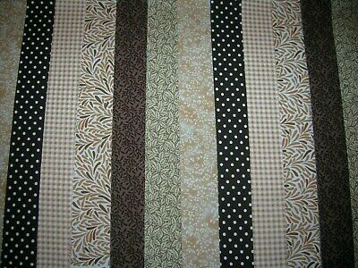 """**Clearance**12 Jelly Roll Strips Brown & Beige  44"""" X 2.5""""  100% Cotton  Clh"""